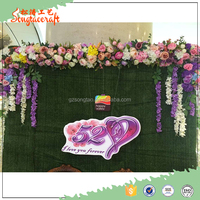 the customized new green Chinese plastic vertical garden planter decor artificial green wall