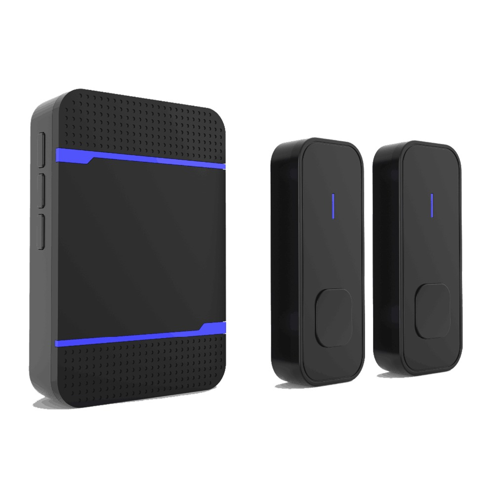 NURBENN wireless doorbell with Ac plug LED light 55 ringtones 300m range in open air black color