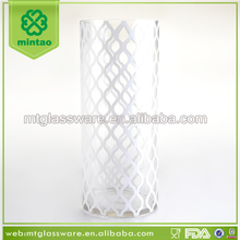 large clear glass flower vase with white decal design
