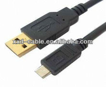 high speed Black micro usb 2.0 male right angle short cable mobile phone charging