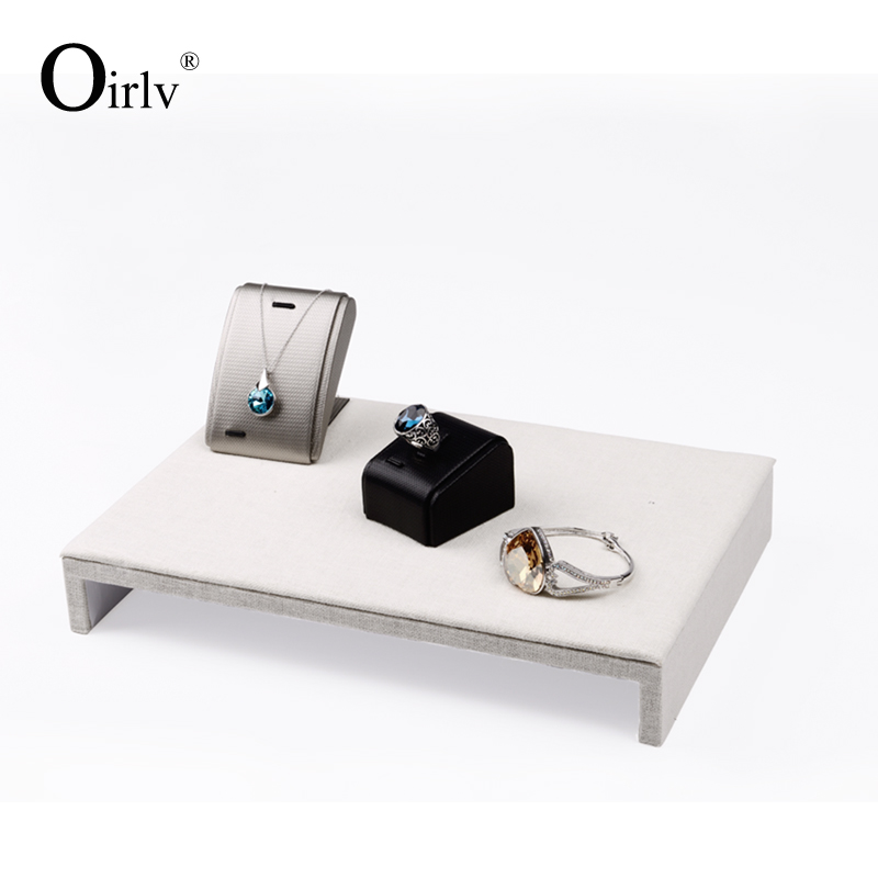 Oirlv Brand Custom Logo Retail Shop Case Jewellery Displays Bridge Riser Stand Wooden Large Size Exhibitor Jewelry