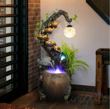 Indoor resin fiberglass misting fountains with lights