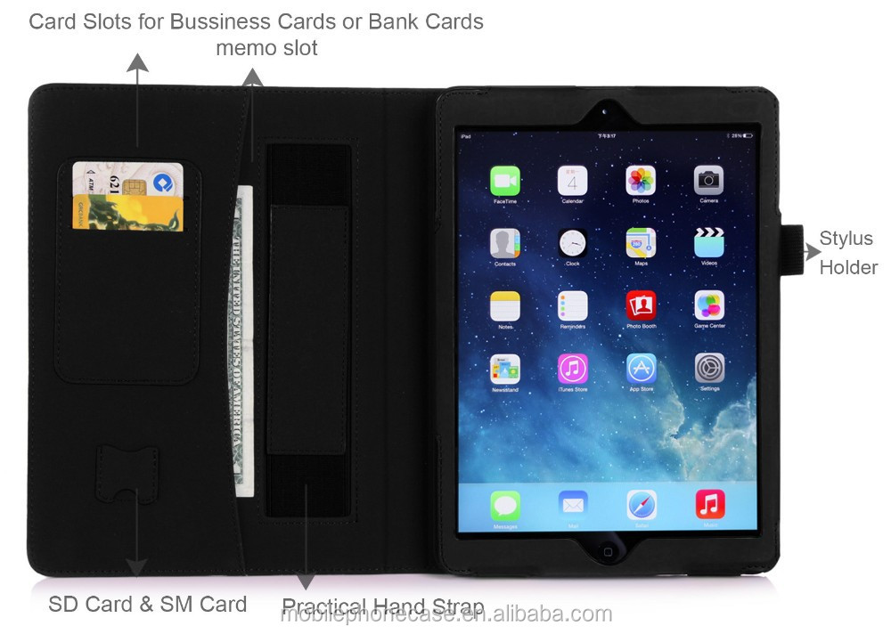 Folio case with hand stap and card slot Tablet case for Ipad Air