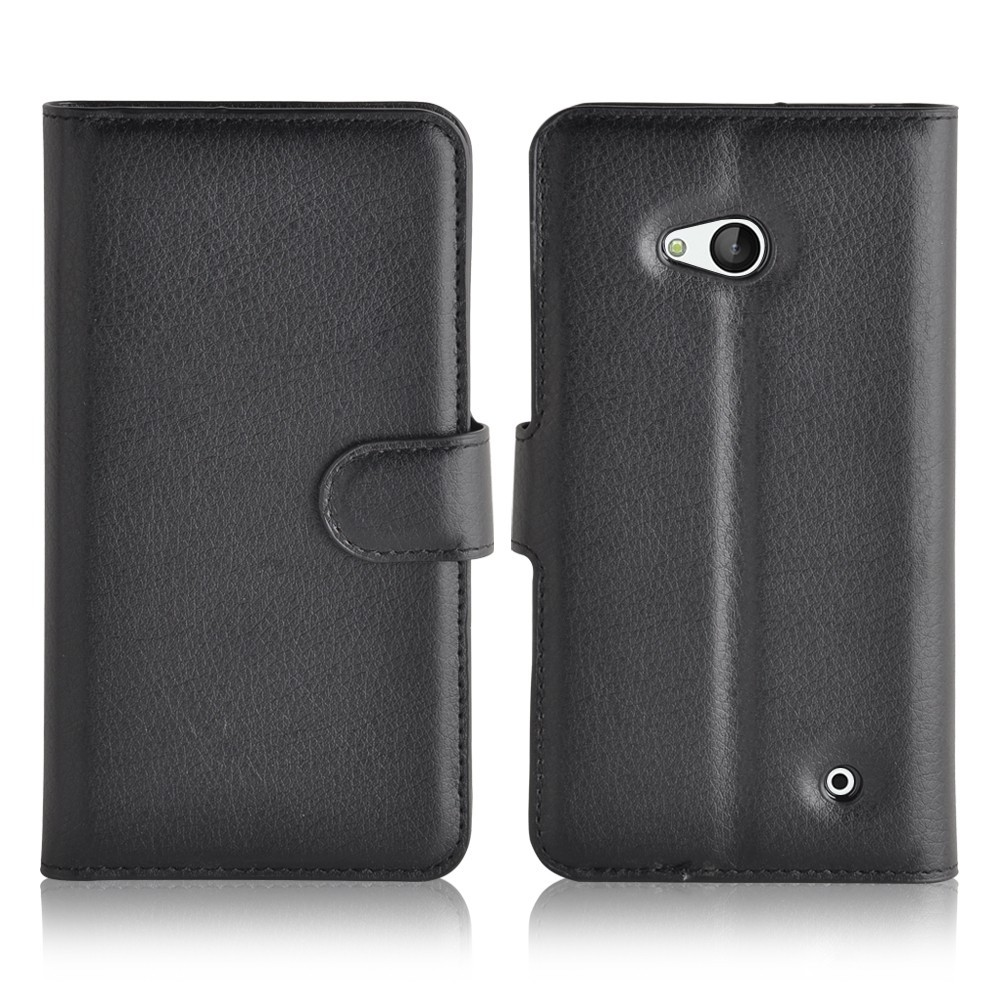 Premium PU wallet flip cover foldable folio stand lychee grain leather case with card holder for Microsoft NOKIA Lumia 640