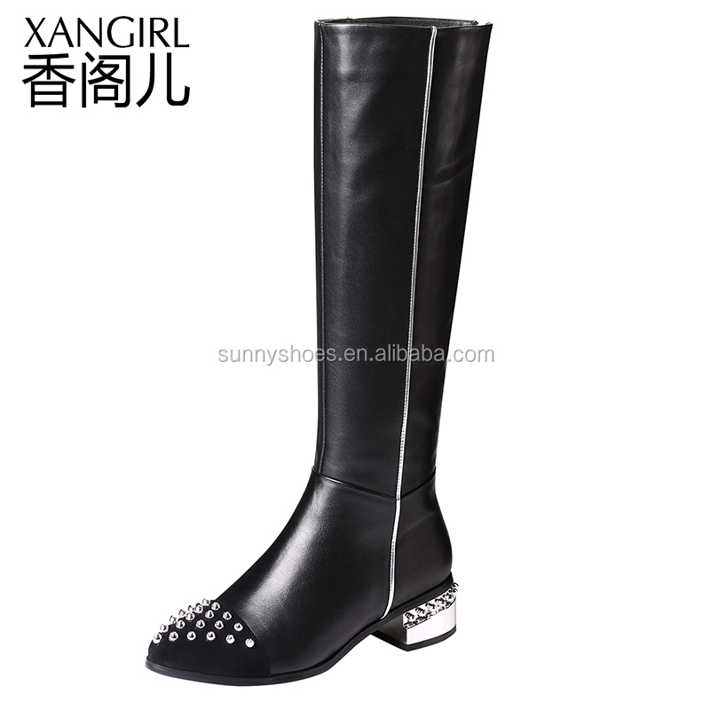 Sexy ladies women winter rivet boots square toe genuine leather boot high heel shoes