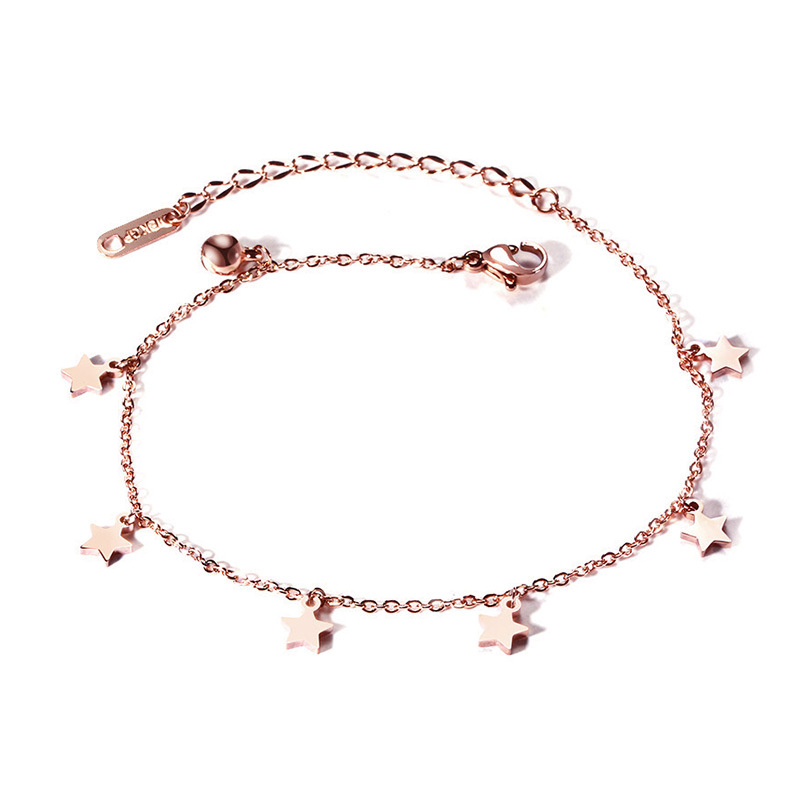 Fashion jewelry heavy anklet rose gold star bell anklets