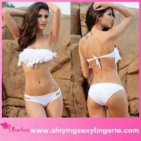 Fashion Wholesale Latest Fringed Bandeau Bikini Set White full sexy photos nude girls