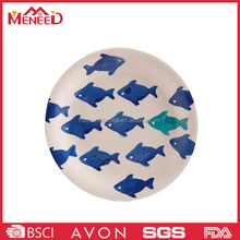 SGS A5 cream color reusable fish print round shape plastic restaurant use steak plate