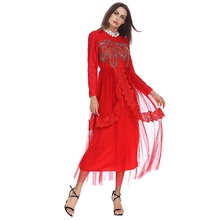 2018 High Quality New Model Abaya in Dubai Muslim Women Lace Yarn Embroidery Beads Abaya Fashion Kaftan Dress