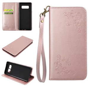 Embossing Flower Pattern PU Leather Cover Case For Samsung Galaxy Note8 Credit Card Slot Wallet Phone Case With Hand Strap