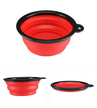 Food grade premium food water feeding portable silicone collapsible pet food bowl