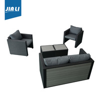 Long lifetime factory directly beichen patio outdoor garden sofa bed pe wicker furniture/rattan sofa