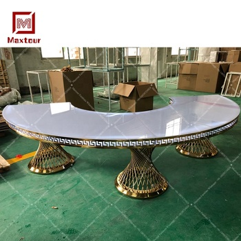 Luxury design stainless steel half moon river dining table for wedding events with led lights