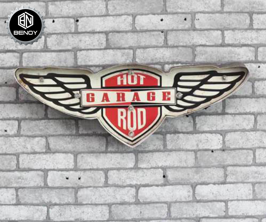 Light Hot Garage Rod Vintage Metal Tin BAR Signs with LED Light for Wall Decoration