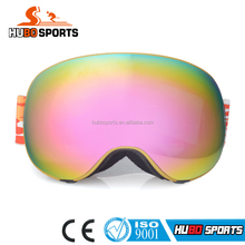Guangzhou manufacturer exchangeable lenses snow ski goggles custom strap