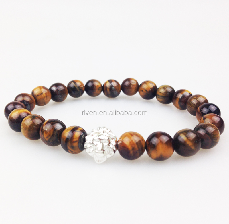 SN0350 Lastest Men Beaded wrist Fashion Tiger Eye Stone Bracelet With Lion Head gold rose gold silver plated