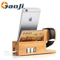 2017 Newest Holder for iPhone 4 5 6 Docking Station Bamboo Wooden Divide wire Charging station