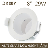 "KEEY 8"" Deep Cup Anti-glare Hotel Fittings 29W Led Downlight ODM / OEM / Projects QYR1-TD29805G"