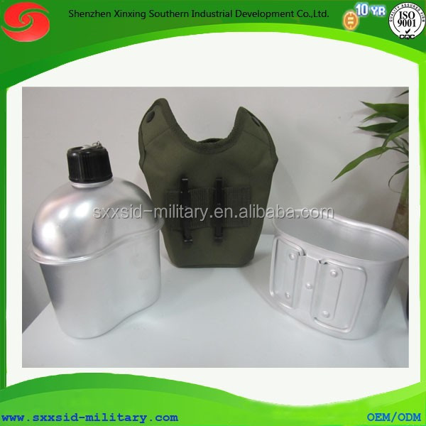 Army carrier aluminum water bottle with cup and fabric cover