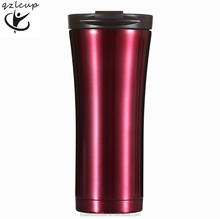 best selling 16 oz portable double wall insulated vacuum red travel mug , leak proof thermos black coffee cup dishwasher safe