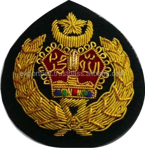 Hand Embroidery Badges in gold and silver bullion wire, Malaysia Security Officers Gold Bullion Badge