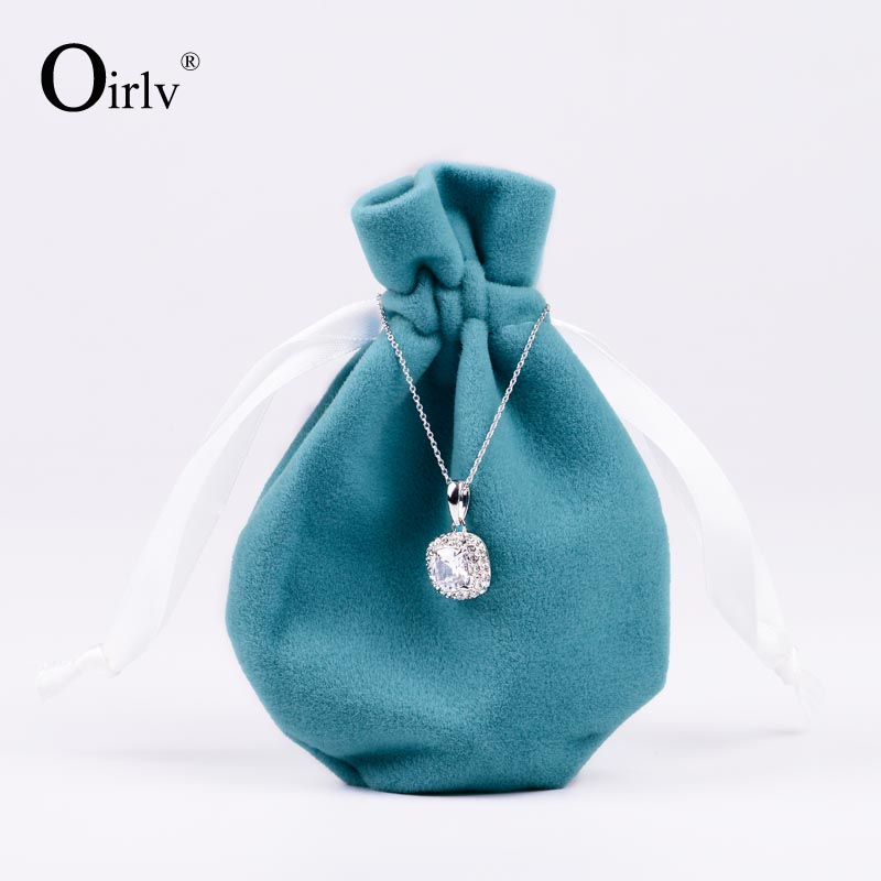 Oirlv China supplier wholesale custom Small Pouch with Silk Ribbon Drawstring jewelry bags velvet gift packaging bag