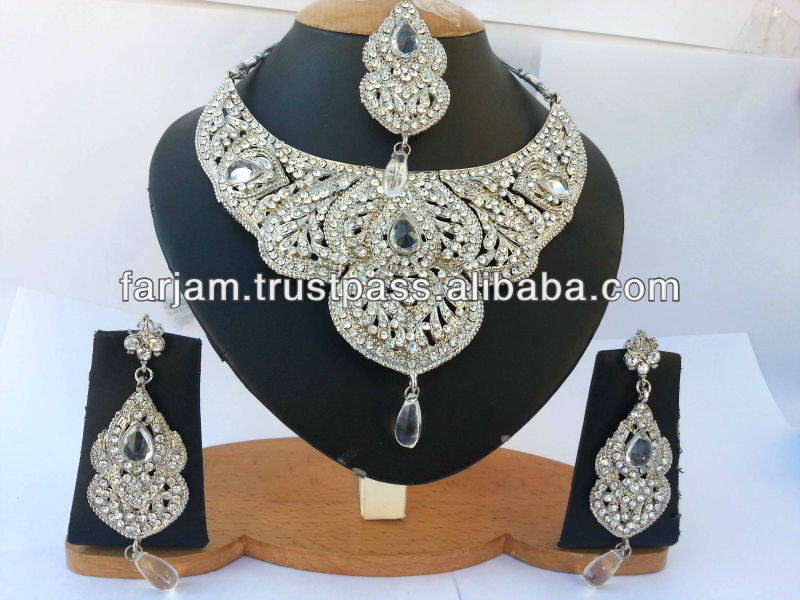 INDIAN TRADITIONAL SILVER BRIDAL NECKLACE SET JEWELRY
