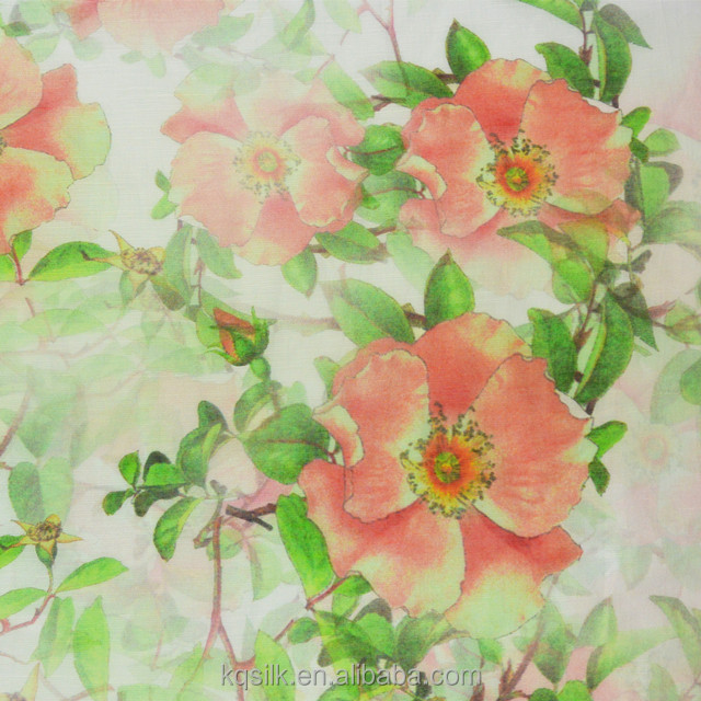 Digital printed silk linen blend fabric with camellia print for dresses