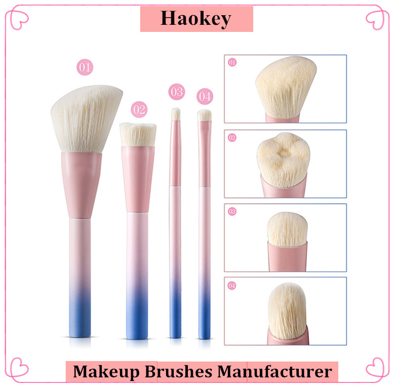 NEW Arrived High quality 4pcs pink with blue color Foundation makeup brush set