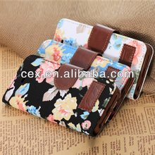 Wholesale - Floral Print Leather Case Flip Cover Card Wallet Pouch case for iphone 5 5G