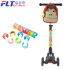 Flash wheel kids mini folding scooter with cute lunch bag and colorful plastic clip