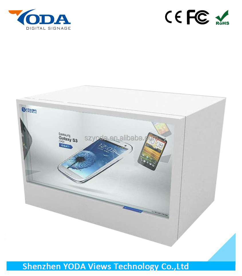 "46"" LCD screen touch screen transparent display showcase"