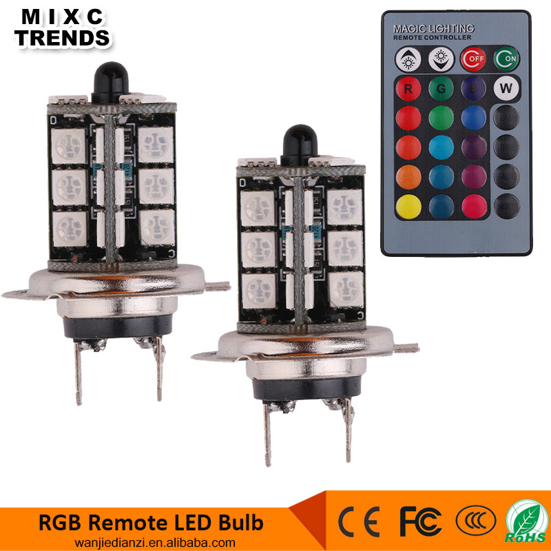 RGB LED Auto Car Headlight H7 5050 LED 27 SMD RGB Fog Light Head Lamp Bulb With Remote Control