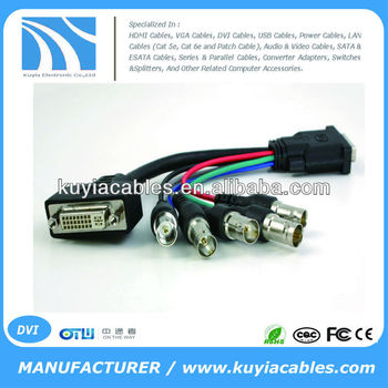 DVI-I Male to Dual Link DVI-D and RGBHV BNC Female Video Cable Adapter Splitter