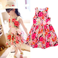 1-5T 2016 summer style beach flower dress floral kids clothes elegant Korean toddle clothing for girls wholesale