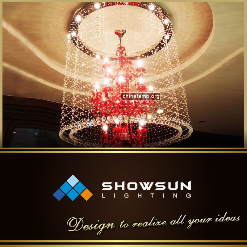 Red Chandelier Night Light Dressed Home Decoration With Crystals