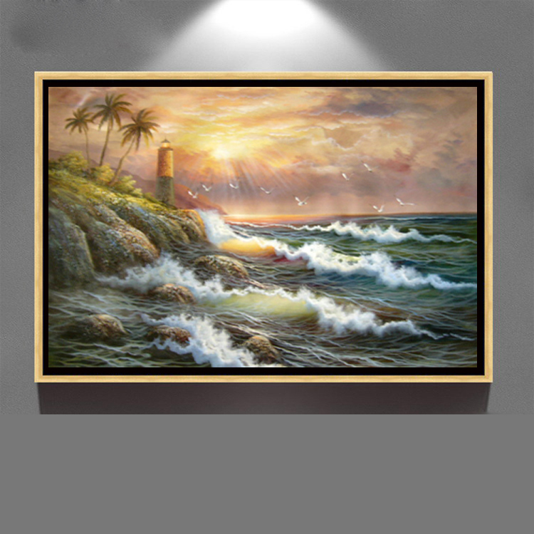the most popular modern hand painted wall art decoration canvas seasscape oil painting