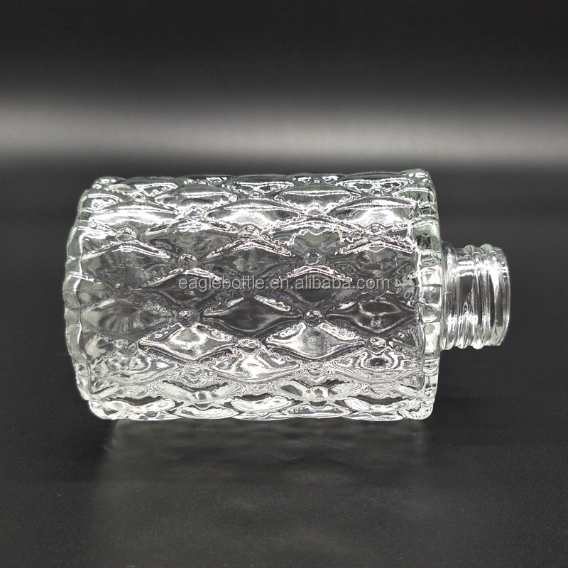 terse style cylinder aroma reed diffuser glass bottle with rattan