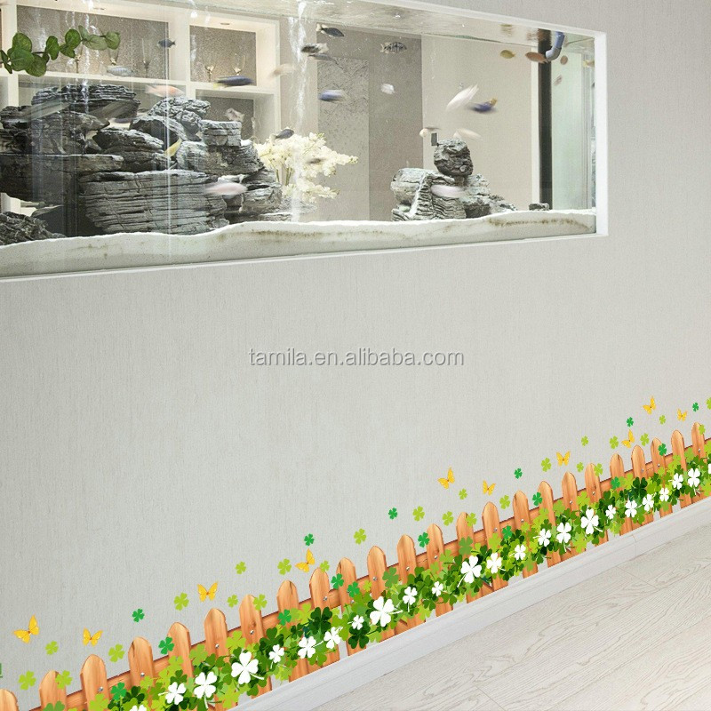 Kids Wall Decals Sticker Wallpaper Border Tile Sticker Self Adhesive Undersea Beauty PVC DIY Flower Fence Wall Border Stickers