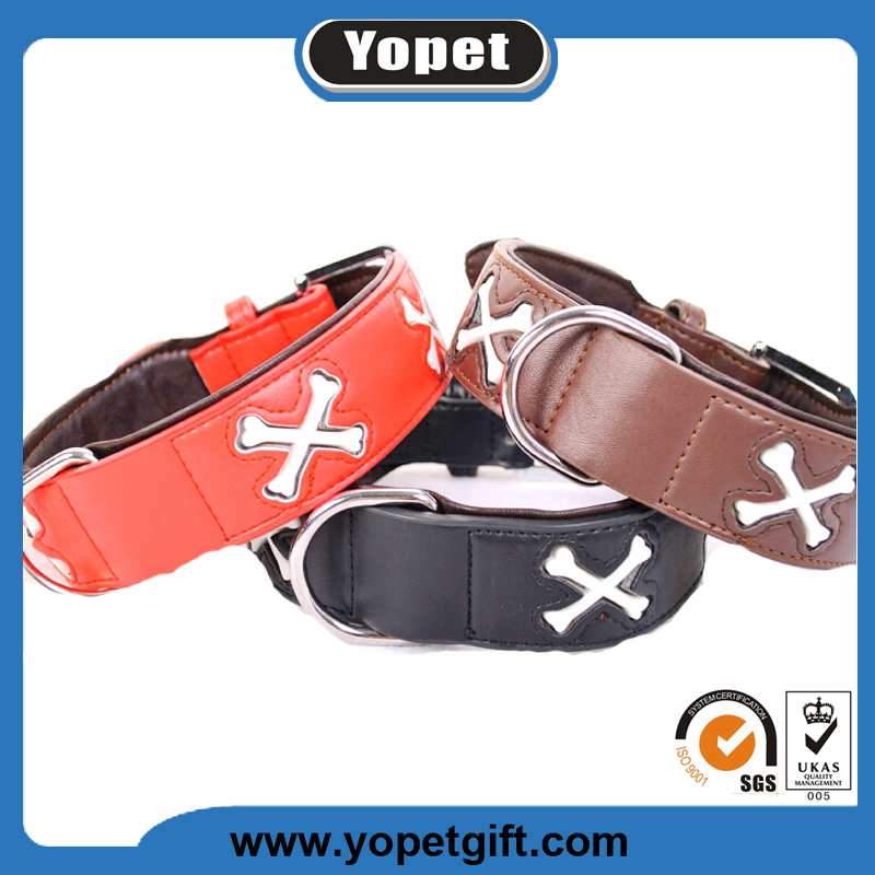Best Quality Leather Fluorescent Light Flashing Padded Pet Dog Collars Factory