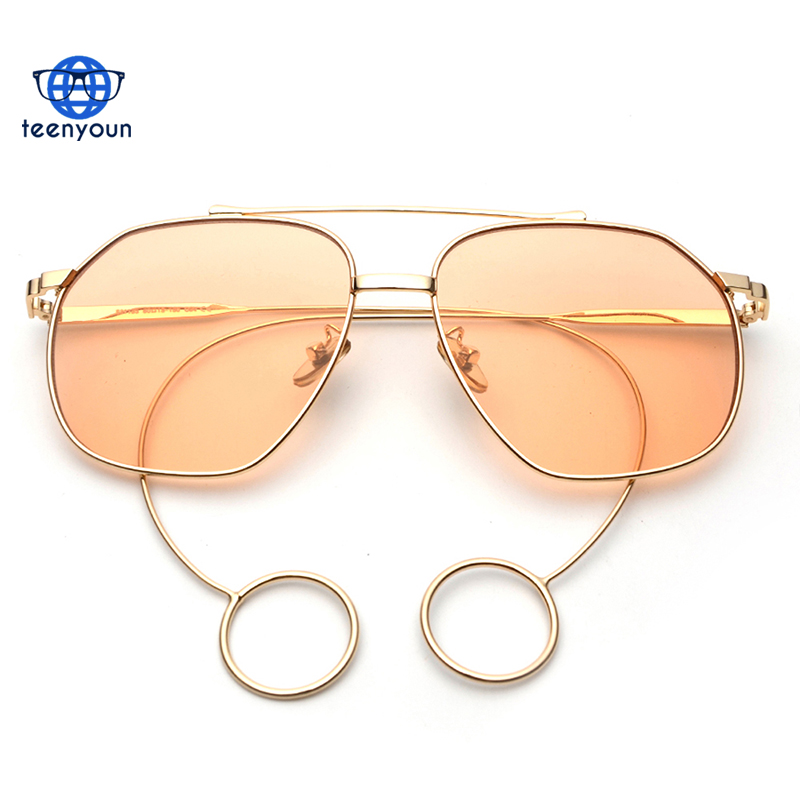 Square flat top hot sunglasses men women metal ring yellow blue pink orange sun glasses uv400 china sunglass manufacturers
