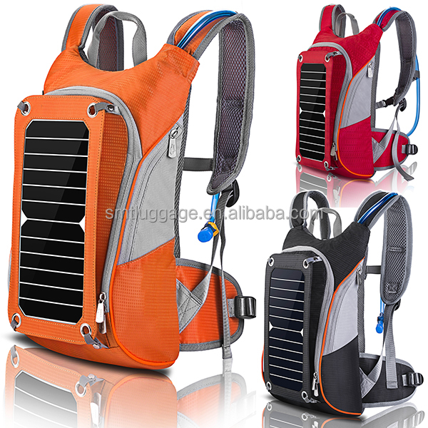 Hot selling/ hiking/camping/biking high conversion rate solar backpack with 6V6.5W solar panel