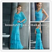 New style sexy scoop light blue empire sheath chiffon mother of the bride dress with jacket ZQM006
