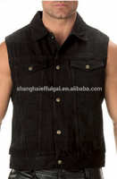 black biker denim vest mens high quality denim vest new design mens jean waistcoat