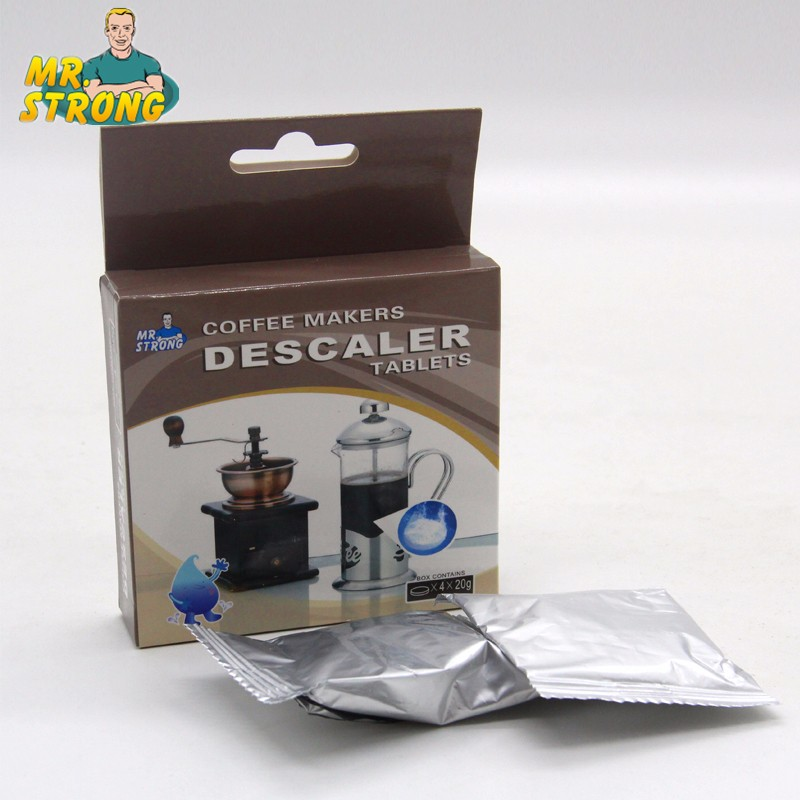 Concentrated descaling tablets for coffee maker cleaning
