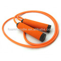 Weighted jumping rope with foam handle