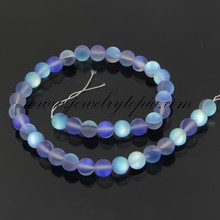 SP0747 China Cheap Sapphire Frosted Imitated Opal Glass Round Beads Wholesale