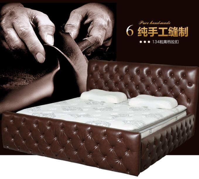 Factory Directly Supply luxury Leather Chesterfeild double Bed for bedroom furniture