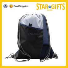 Customized Waterproof Nylon Drawstring Sports bag With Mesh Pocket