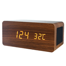 2019 New Design 4.2 Bluetooth Speaker Wooden LED Alarm Clock With Wireless Phone Charger
